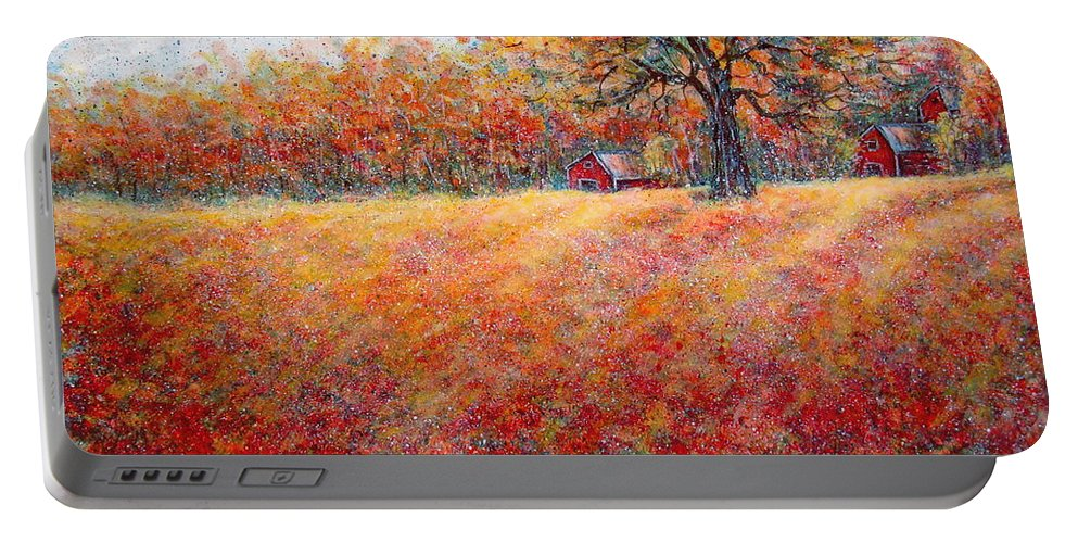 Autumn Landscape Portable Battery Charger featuring the painting A Beautiful Autumn Day by Natalie Holland