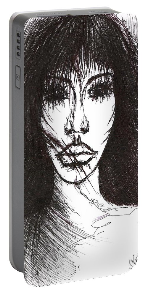 Joy Portable Battery Charger featuring the drawing A Bit Not So by Wojtek Kowalski