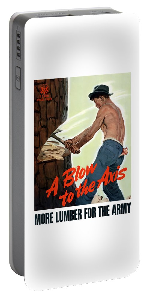 Lumberjack Portable Battery Charger featuring the painting A Blow To The Axis - Ww2 by War Is Hell Store