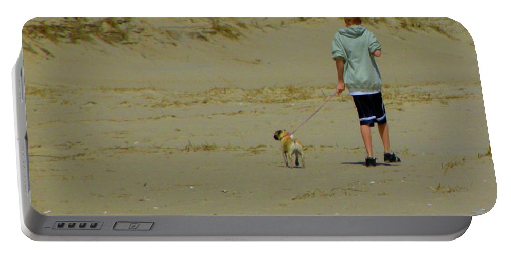 Portable Battery Charger featuring the photograph A Boy And His Pug by Trish Tritz