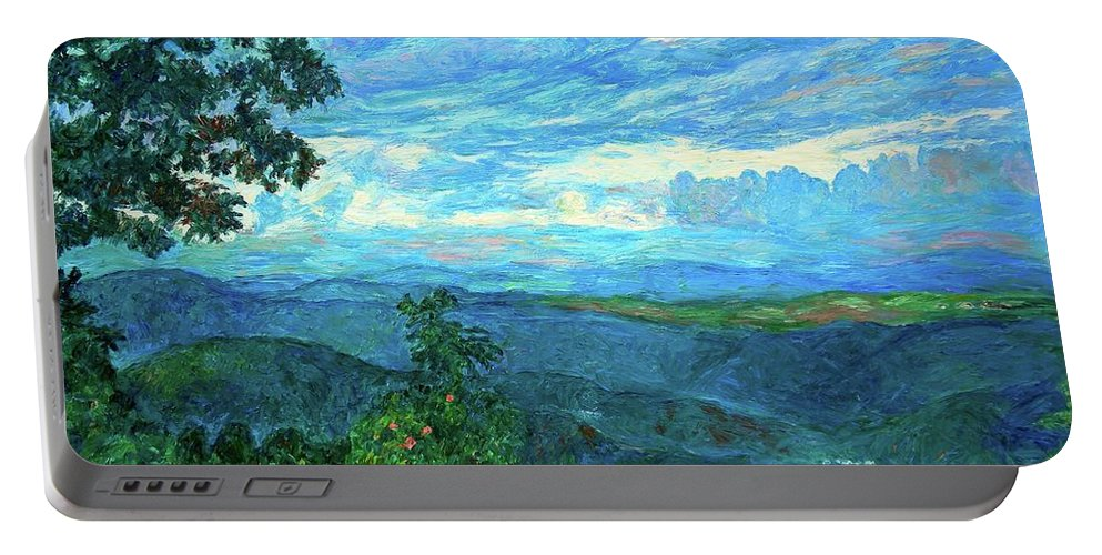Mountains Portable Battery Charger featuring the painting A Break In The Clouds by Kendall Kessler