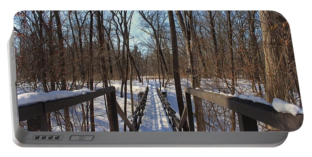 Wildwood Metropark Portable Battery Charger featuring the photograph A Bridge At Wildwood by Michiale Schneider