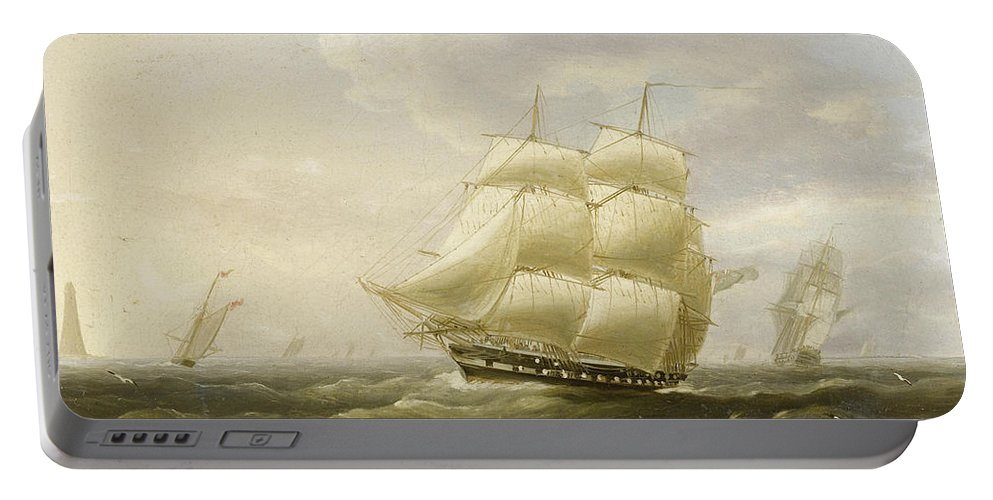 Thomas Buttersworth Portable Battery Charger featuring the painting A British Frigate Bowling Down The Channel On A Breezy Day Past The Eddystone Lighthouse by Thomas Buttersworth
