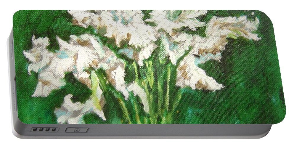 Bunch Portable Battery Charger featuring the painting A Bunch Of White Gladioli by Usha Shantharam