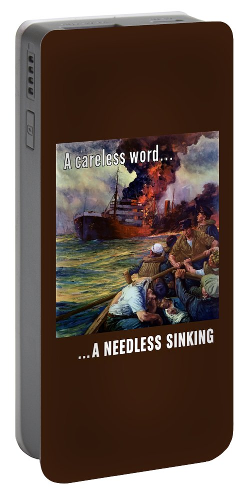Navy Portable Battery Charger featuring the painting A Careless Word A Needless Sinking by War Is Hell Store