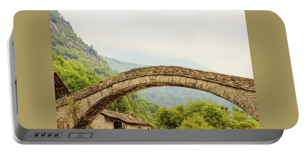 Italy Portable Battery Charger featuring the photograph A  Characteristic Bridge Of A Piedmontese Alpine Village by Daniele Mattioda