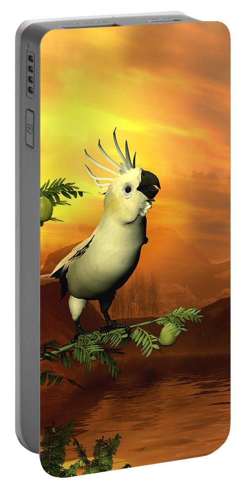 Cockatoo Portable Battery Charger featuring the digital art A Cockatoo In A Tree by John Junek