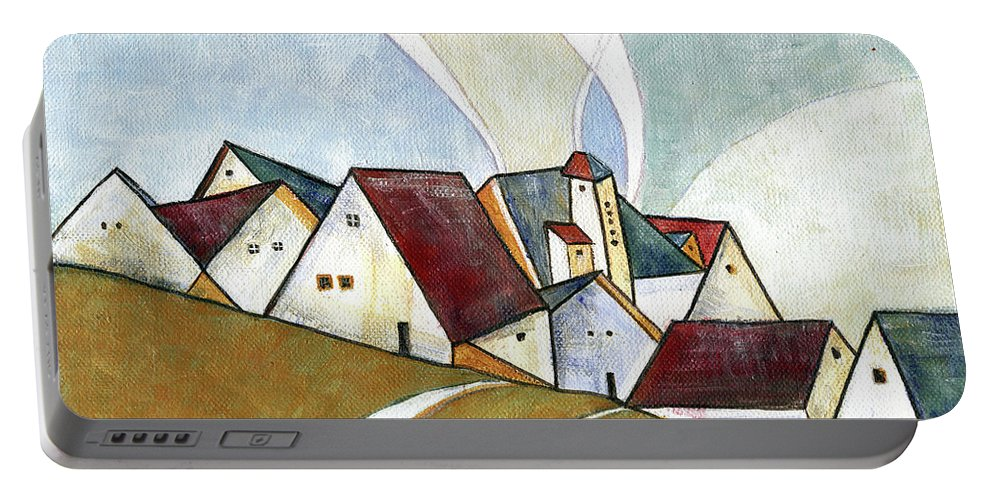 Original Art Portable Battery Charger featuring the painting  A Cold Day by Aniko Hencz