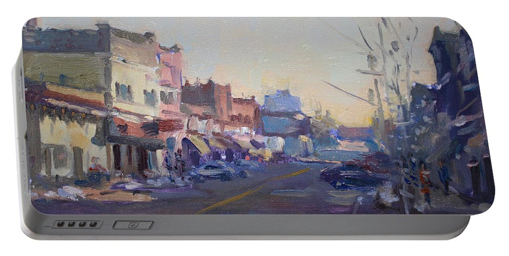 Cold Portable Battery Charger featuring the painting A Cold Sunny Day At Webster St by Ylli Haruni