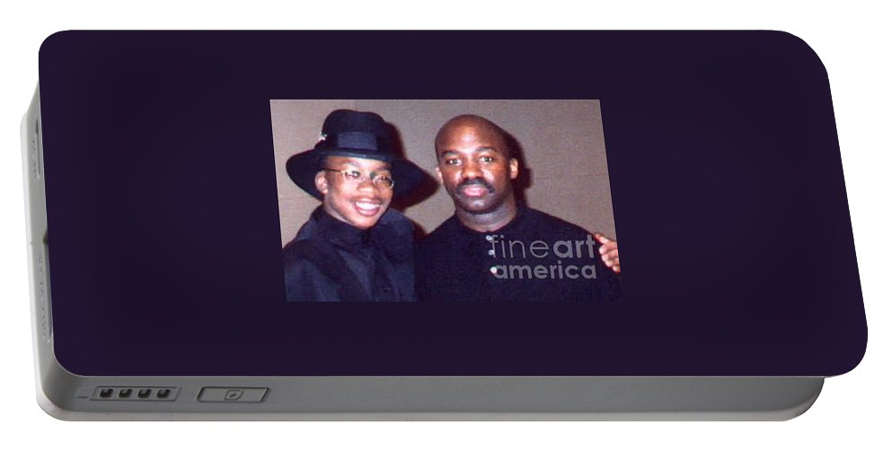Father And Son Portable Battery Charger featuring the mixed media A Cool Dude And His Dad by Angela L Walker