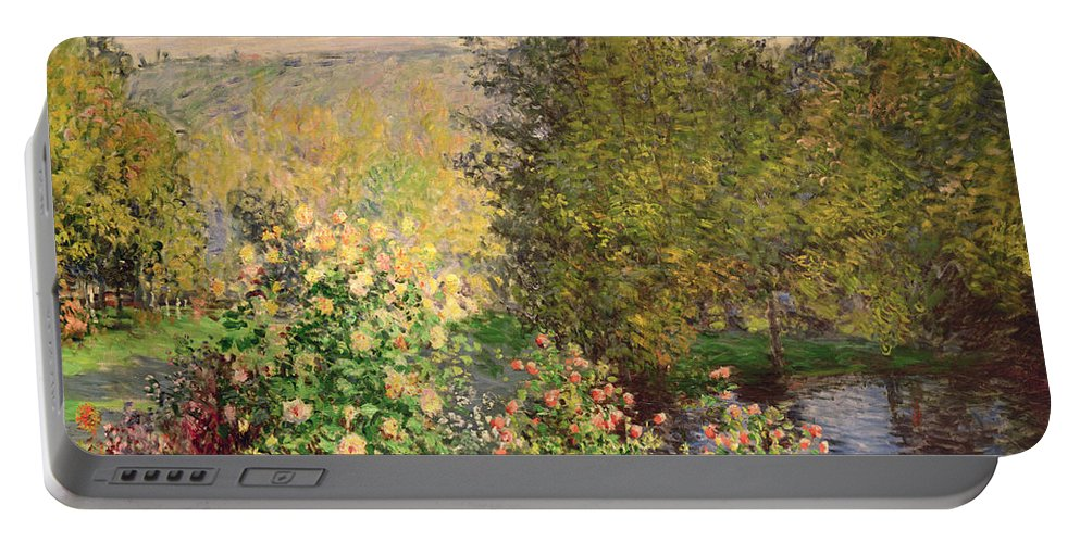 Corner Portable Battery Charger featuring the painting A Corner Of The Garden At Montgeron by Claude Monet