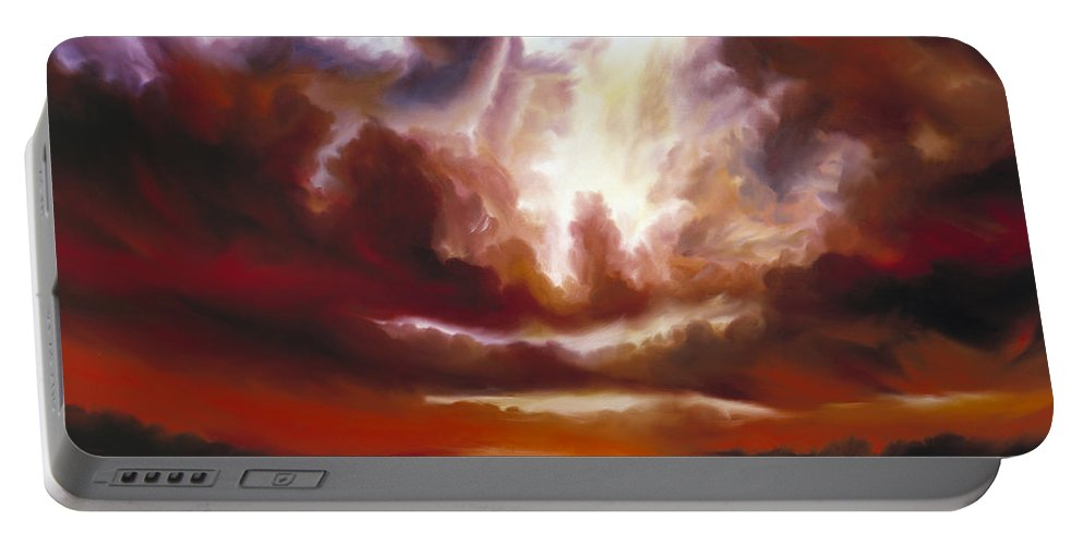 Tempest Portable Battery Charger featuring the painting A Cosmic Storm - Genesis V by James Christopher Hill