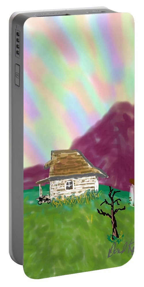 Sky Mountains Old Cottage Desolate Portable Battery Charger featuring the digital art A Cottage In The Alps by David R Keith
