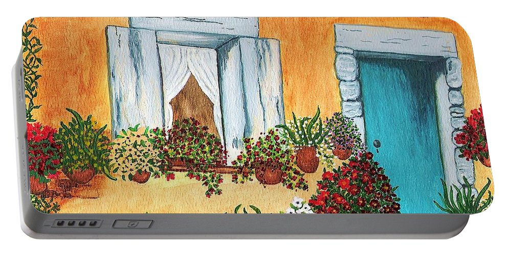 Watercolor Painting Portable Battery Charger featuring the painting A Cottage In The Village by Patricia Griffin Brett