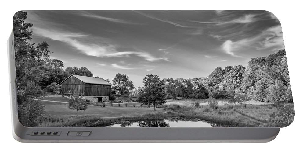 Pond Portable Battery Charger featuring the photograph A Country Place Bw by Steve Harrington