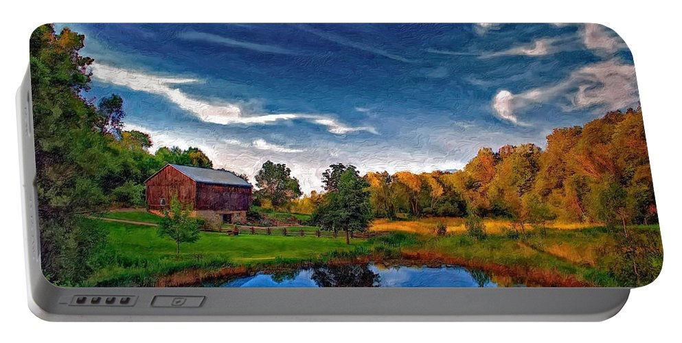 Pond Portable Battery Charger featuring the photograph A Country Place Painted Version by Steve Harrington