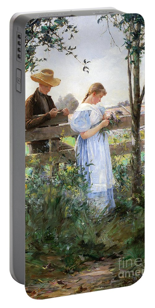 A Country Romance (oil On Canvas) By David B. Walkley (1849-1934) Portable Battery Charger featuring the painting A Country Romance by David B Walkley