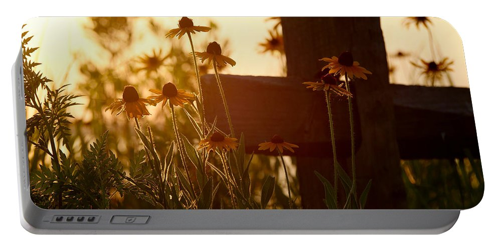Flowers Portable Battery Charger featuring the photograph A Cross by Rachel Morrison