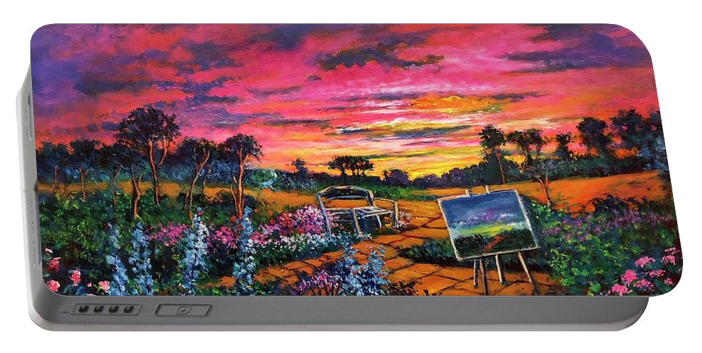 Sunset Portable Battery Charger featuring the painting A Darkness So Light by Randy Burns