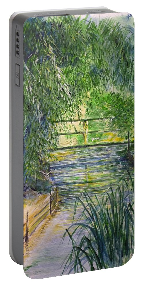 Giverny Portable Battery Charger featuring the painting A Day At Giverny by Lizzy Forrester