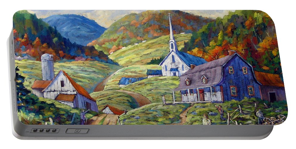 Landscape Portable Battery Charger featuring the painting A Day In Our Valley by Richard T Pranke