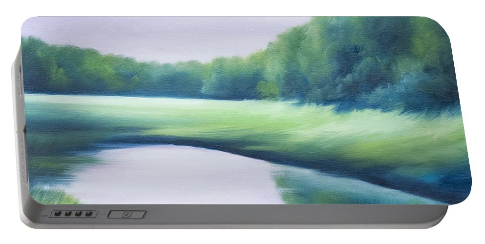 Nature; Lake; Sunset; Sunrise; Serene; Forest; Trees; Water; Ripples; Clearing; Lagoon; James Christopher Hill; Jameshillgallery.com; Foliage; Sky; Realism; Oils; Green; Tree; Blue; Pink; Pond; Lake Portable Battery Charger featuring the painting A Day In The Life 1 by James Christopher Hill