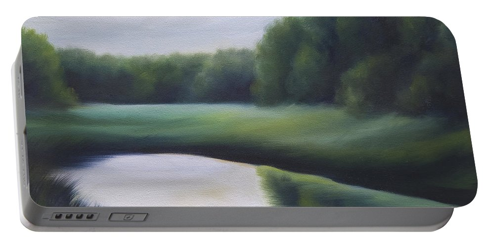 Nature; Lake; Sunset; Sunrise; Serene; Forest; Trees; Water; Ripples; Clearing; Lagoon; James Christopher Hill; Jameshillgallery.com; Foliage; Sky; Realism; Oils; Green; Tree Portable Battery Charger featuring the painting A Day In The Life 3 by James Christopher Hill