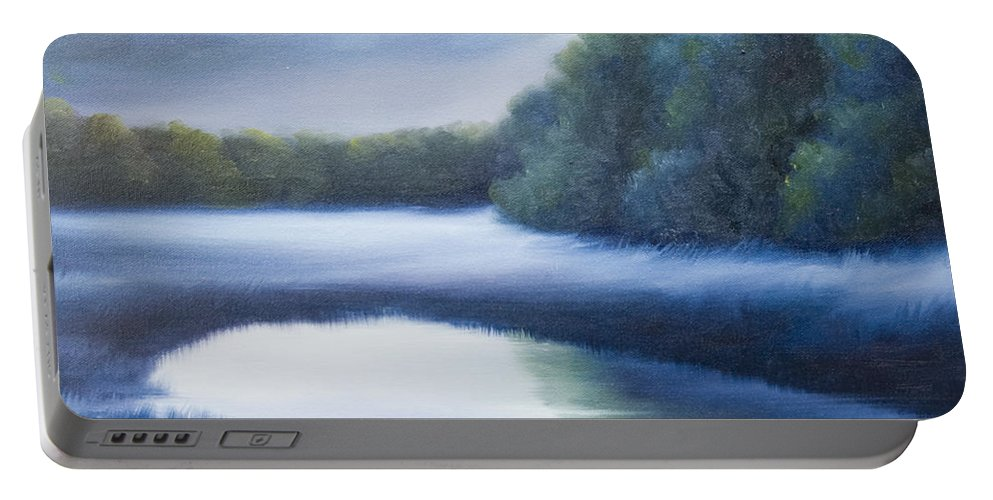 Nature; Lake; Sunset; Sunrise; Serene; Forest; Trees; Water; Ripples; Clearing; Lagoon; James Christopher Hill; Jameshillgallery.com; Foliage; Sky; Realism; Oils; Green; Tree; Blue; Pink; Pond; Lake Portable Battery Charger featuring the painting A Day In The Life 4 by James Christopher Hill