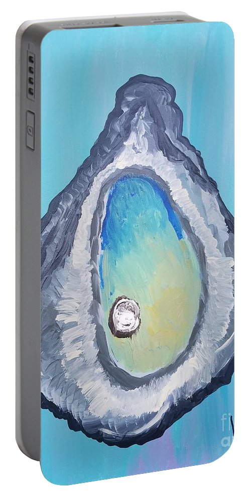 Happy Portable Battery Charger featuring the painting A Delightful Oyster by Scott D Van Osdol
