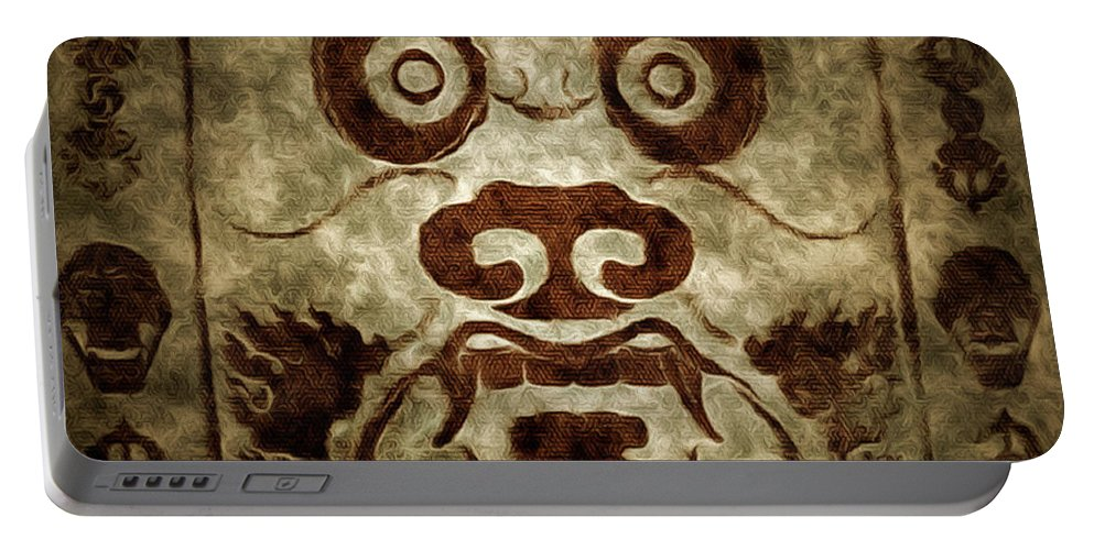 Parchment Illustration Portable Battery Charger featuring the digital art A Demonic Face by Mario Carini