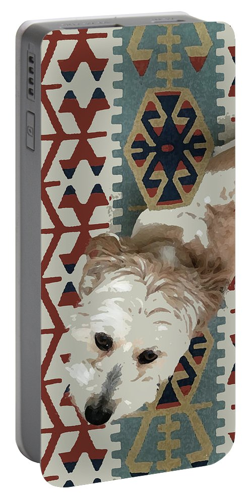 Dog Portable Battery Charger featuring the mixed media A Dog In On A Rug by Stan Magnan