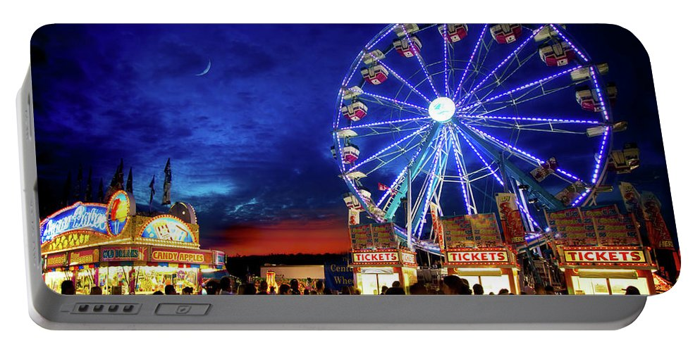 Carnival Portable Battery Charger featuring the photograph A Fair Moon by Mark Andrew Thomas