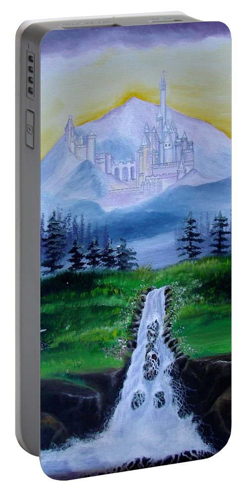 Landscape Portable Battery Charger featuring the painting A Fairytale by Glory Fraulein Wolfe