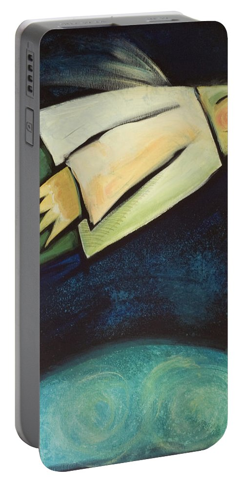 Universe Portable Battery Charger featuring the painting A Finger Two Dots Then Me by Tim Nyberg