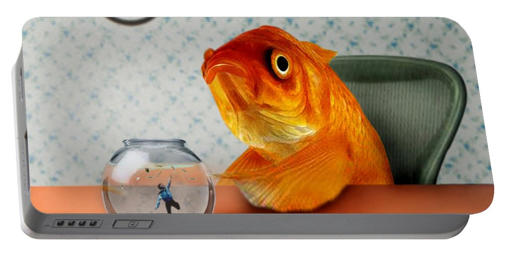 A Fish Out Of Water Portable Battery Charger featuring the mixed media A Fish Out Of Water by Carrie Jackson