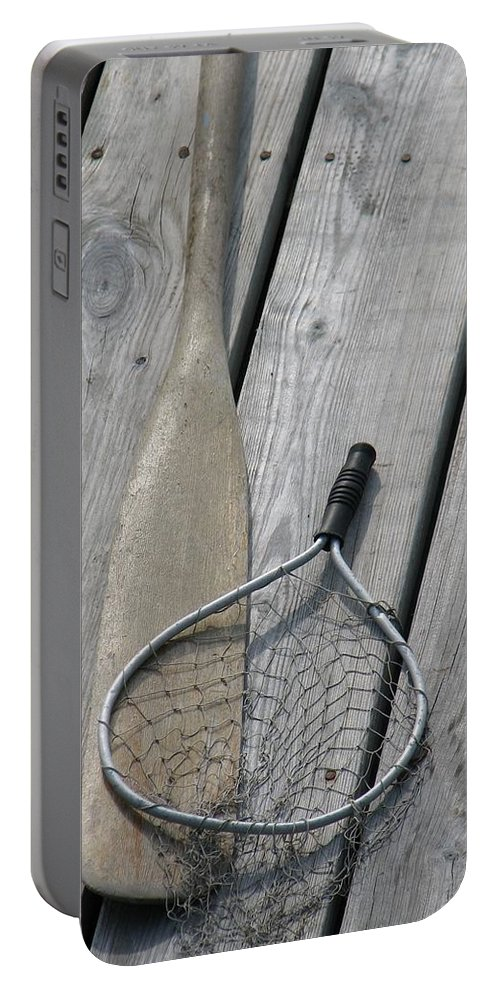 Net Portable Battery Charger featuring the photograph A Fisherman's Tools by Kelly Mezzapelle