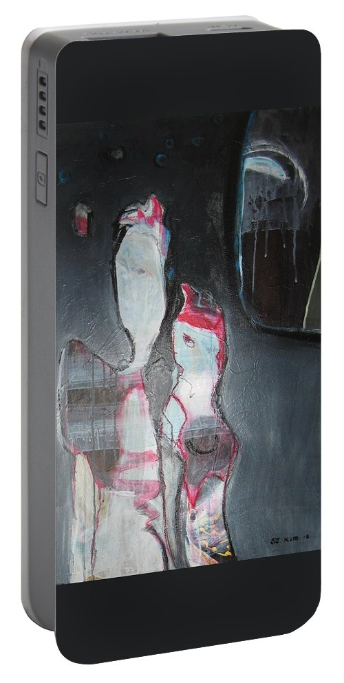 Abstract Paintings Portable Battery Charger featuring the painting A Flase Rumor by Seon-Jeong Kim