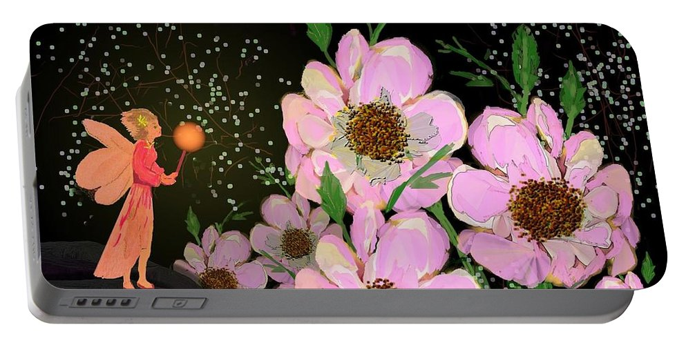 Fantasy Portable Battery Charger featuring the digital art A Flower Fairy by Jewel Savoy