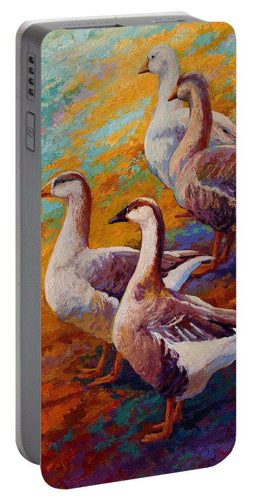 Geese Portable Battery Charger featuring the painting A Gaggle Of Four by Marion Rose