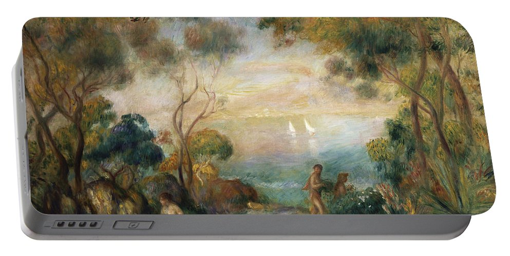 Garden Portable Battery Charger featuring the painting A Garden In Sorrento by Pierre Auguste Renoir
