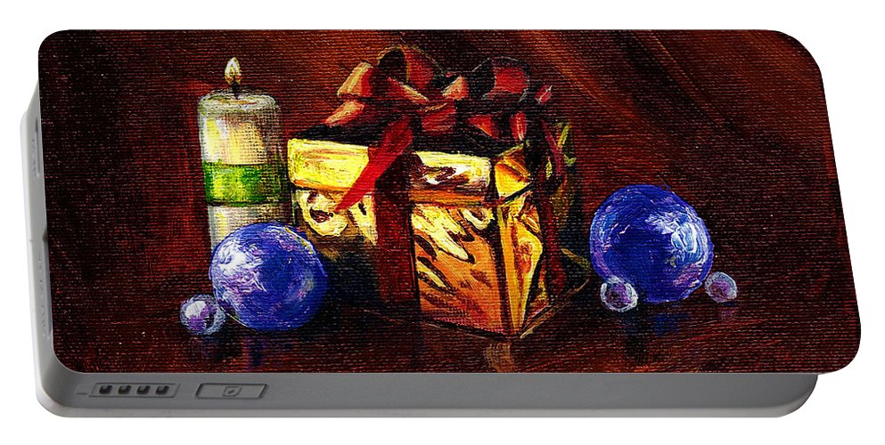 Gift Portable Battery Charger featuring the painting A Gift For You by Amani Al Hajeri