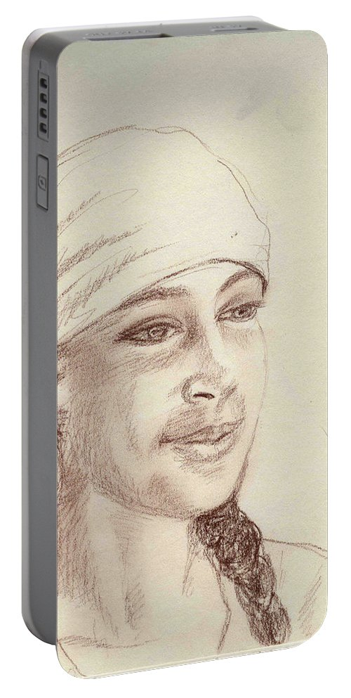 Girl In A Scarf Portable Battery Charger featuring the drawing A Girl In A Scarf by Asha Sudhaker Shenoy