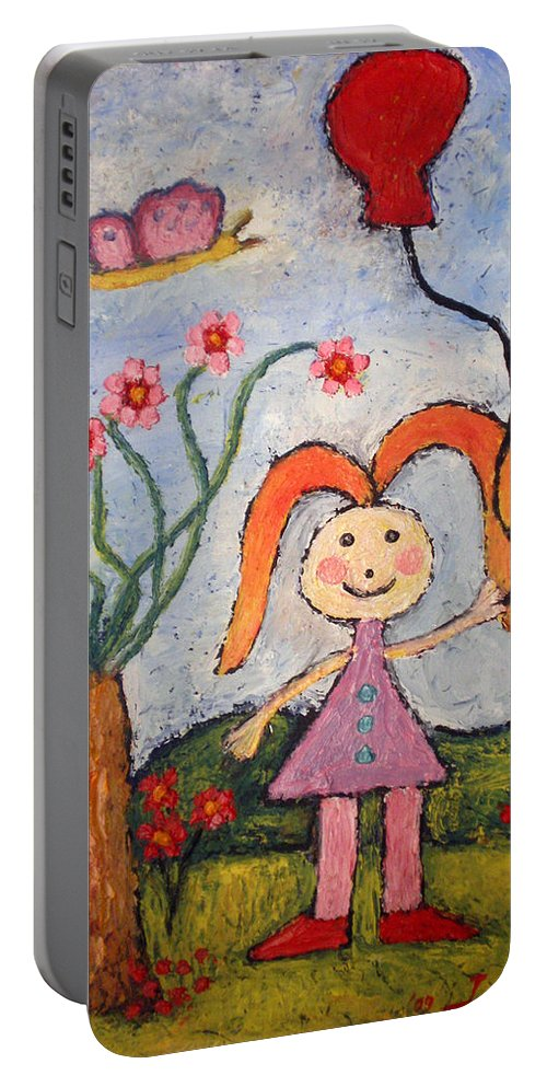 Girl Portable Battery Charger featuring the painting A Girl With A Balloon by Ioulia Sotiriou