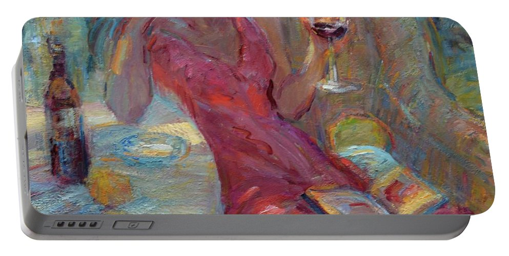 Impressionist Artist Portable Battery Charger featuring the painting A Glass Of Red by Diane Leonard