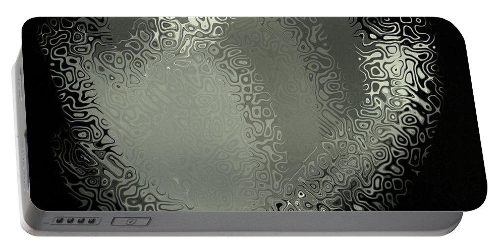 Black And White Flower Art Portable Battery Charger featuring the mixed media A Glimpse Of Nature by Kathleen Sartoris