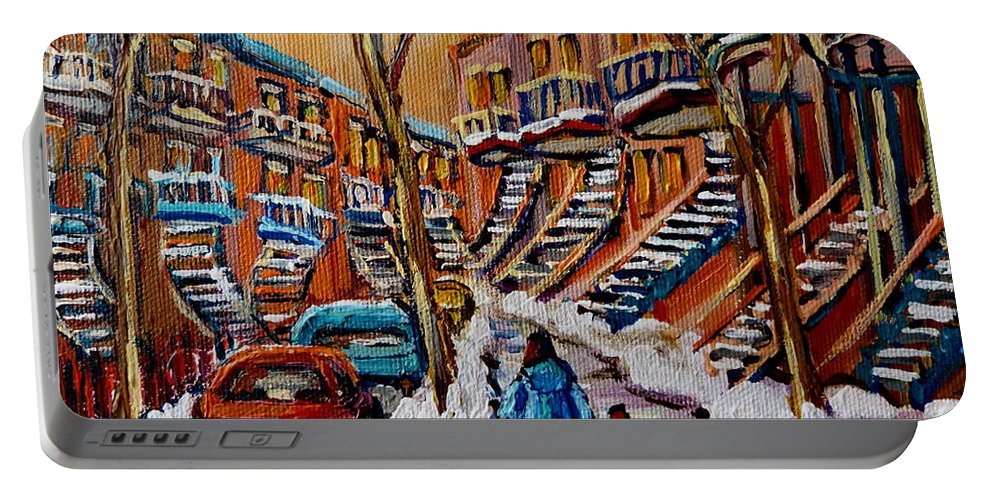 Montreal Portable Battery Charger featuring the painting A Glorious Day by Carole Spandau