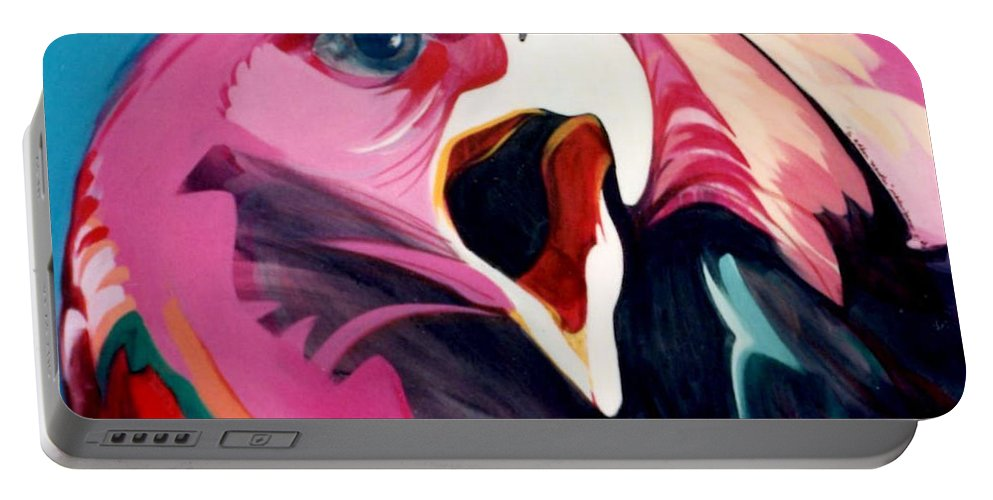 Raptor Portable Battery Charger featuring the painting A Golden Mantles by Marlene Burns