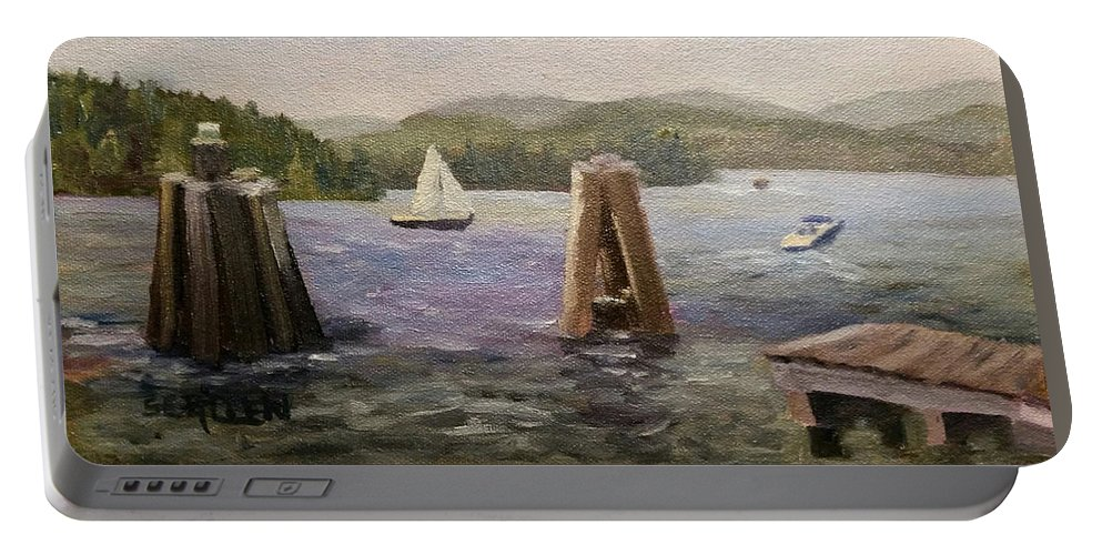 Boats Portable Battery Charger featuring the painting A Good Day for Boating by Sharon E Allen