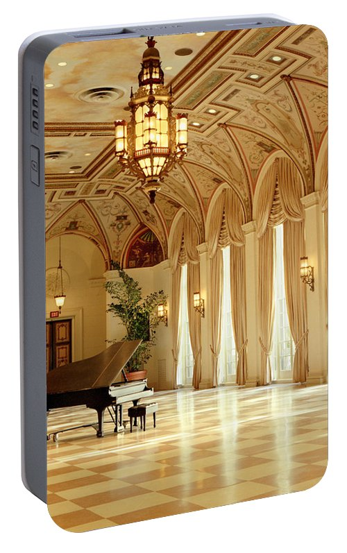 The Breakers Portable Battery Charger featuring the photograph A Grand Piano At The Breakers 100 by Rich Franco