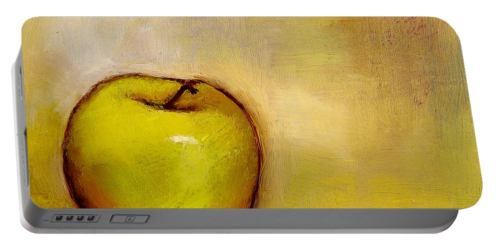 Still Life Portable Battery Charger featuring the painting A Green Apple by Bob Kimball